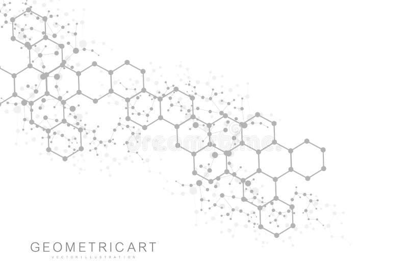 Priorità bassa astratta esagonale Grande visualizzazione di dati Collegamento di rete globale Medico, tecnologia, scienza illustrazione vettoriale