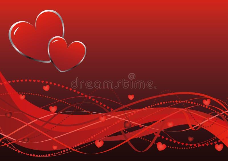 Priorità bassa astratta - onde di giorno del biglietto di S. Valentino royalty illustrazione gratis