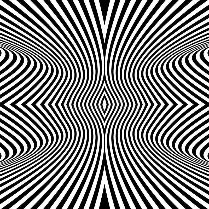 Priorità bassa in bianco e nero Reticolo con l'illusione ottica illustrazione di stock