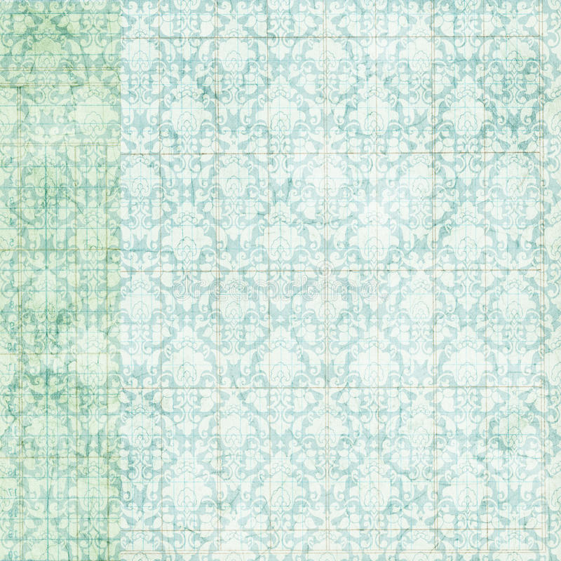 Priorità bassa blu afflitta grungy del damasco dell'annata illustrazione vettoriale