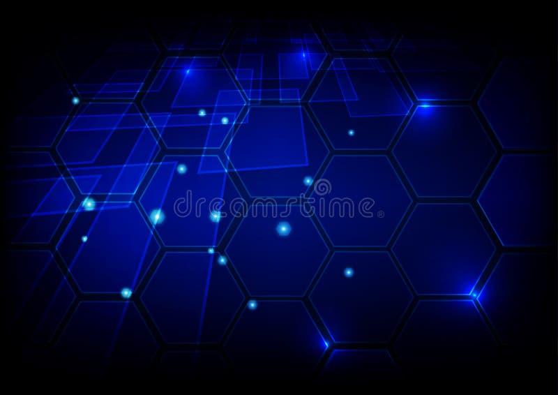 Priorità bassa blu alta tecnologia astratta Progettazione di massima di tecnologia illustrazione di stock