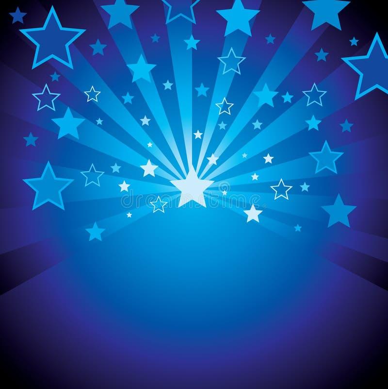 Priorità bassa blu con le stelle illustrazione di stock