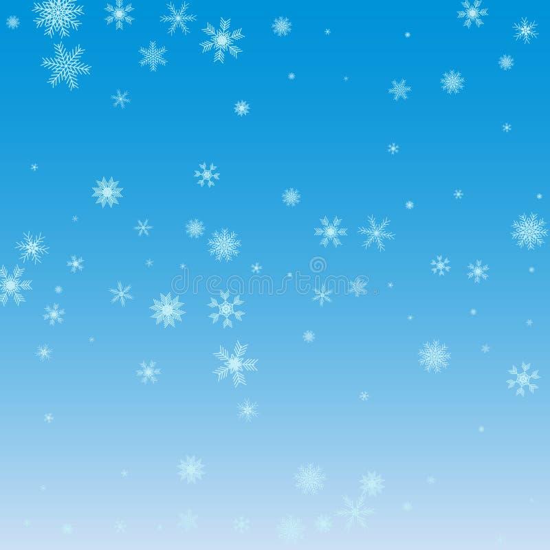 Priorità bassa blu dei fiocchi di neve di natale Fiocchi di neve bianchi sull'azzurro illustrazione di stock