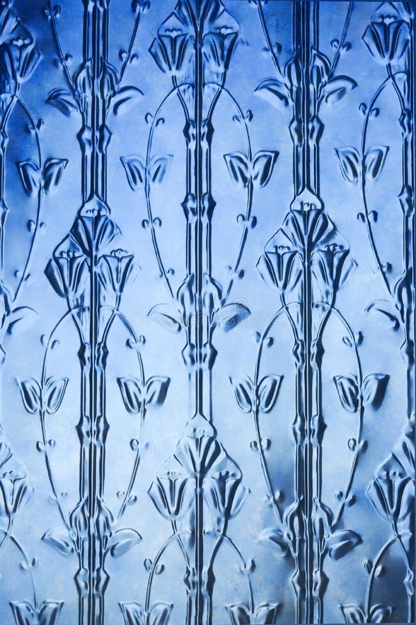 Priorità bassa blu del fiore del metallo fotografie stock
