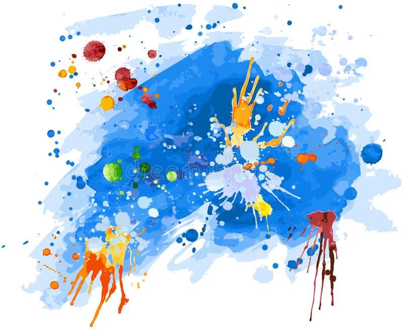 Priorità bassa blu dell'acquerello illustrazione vettoriale
