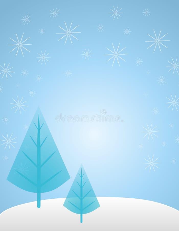 Priorità bassa blu dell'albero di inverno illustrazione vettoriale