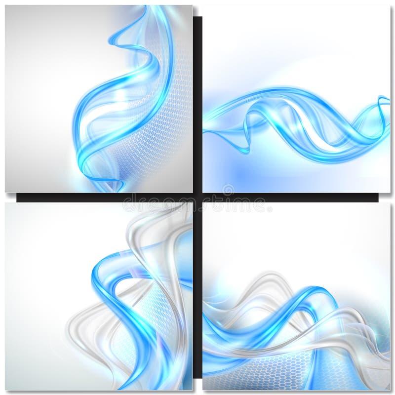 Priorità bassa blu dell'estratto dell'onda illustrazione vettoriale