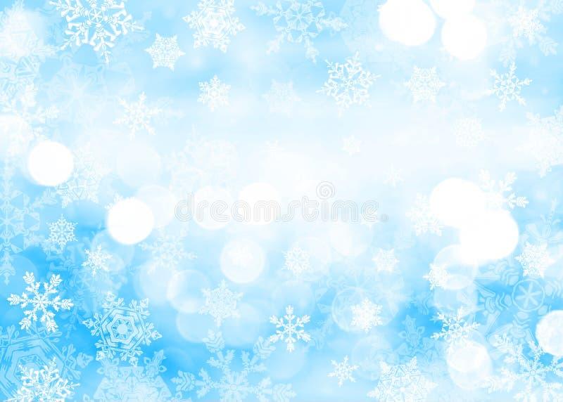 Priorità bassa blu di natale con i fiocchi di neve fotografia stock libera da diritti