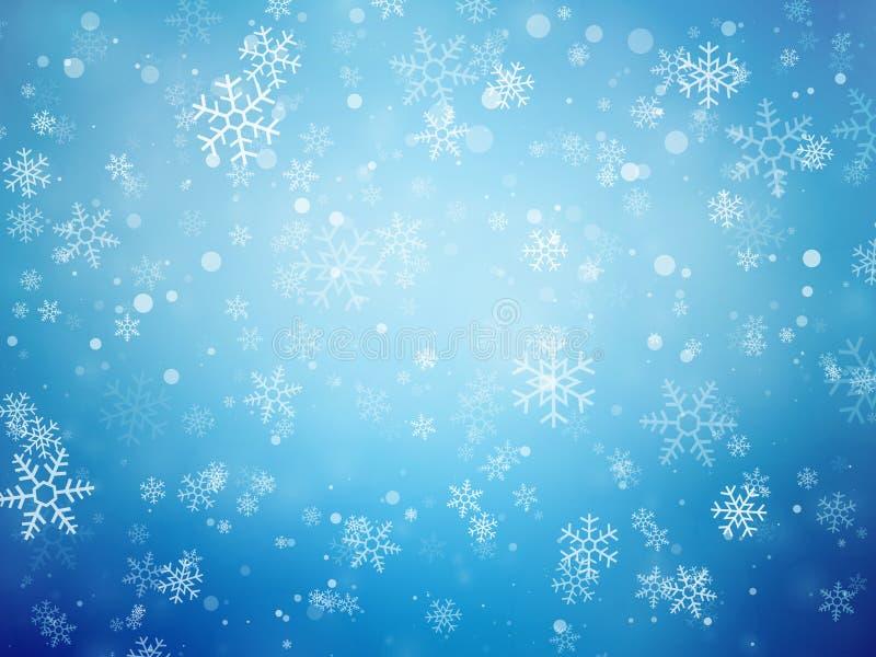 Priorità bassa blu di natale con i fiocchi di neve royalty illustrazione gratis