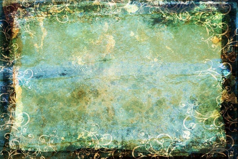 Priorità bassa blu-verde di Grunge con il bordo di turbinio illustrazione di stock