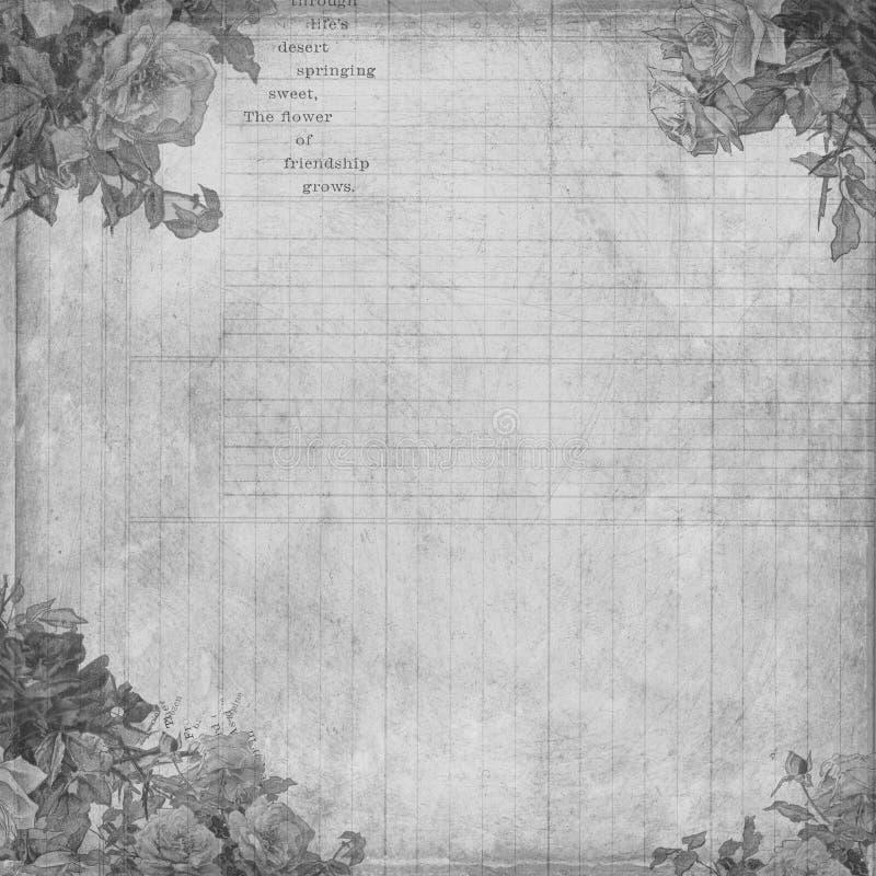 Priorità bassa botanica del registro dell'annata con i fiori illustrazione vettoriale