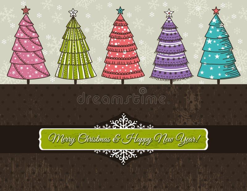 Priorità bassa con gli alberi di Natale, vettore illustrazione vettoriale