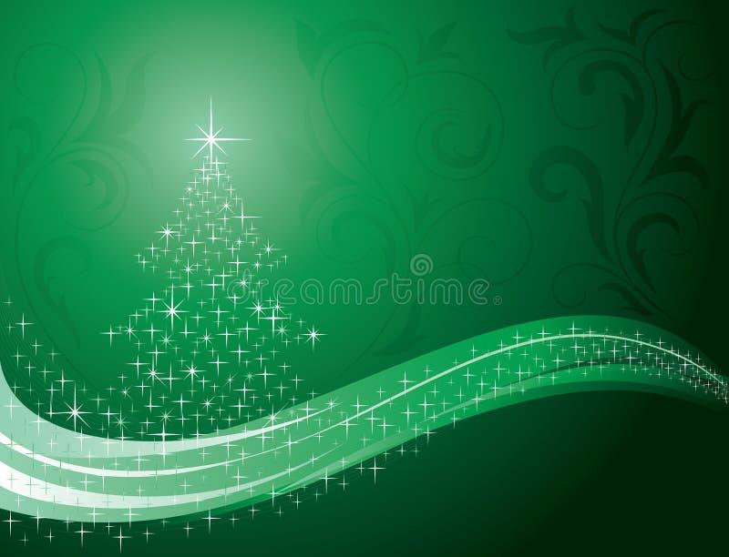 Priorità bassa con gli elementi dell'albero di Natale e di disegno royalty illustrazione gratis