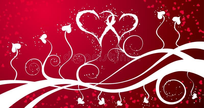 Priorità bassa con i cuori, vettore dei biglietti di S. Valentino illustrazione vettoriale