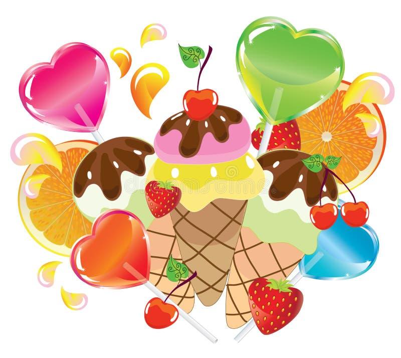 Priorità bassa con i dolci, biglietto di S. Valentino illustrazione di stock