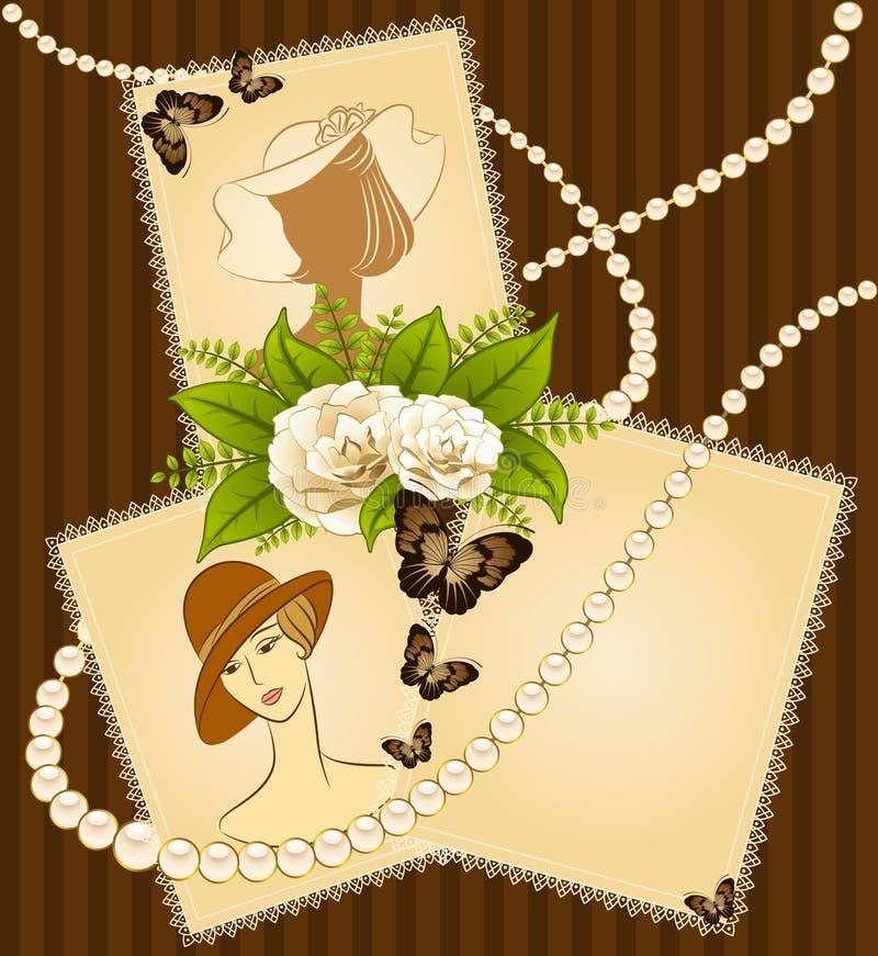 Priorità bassa con i fiori e le ragazze royalty illustrazione gratis