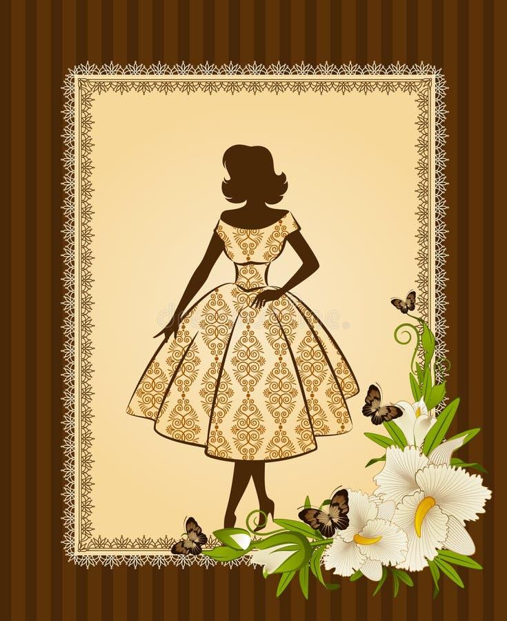 Priorità bassa con i fiori e le ragazze illustrazione vettoriale