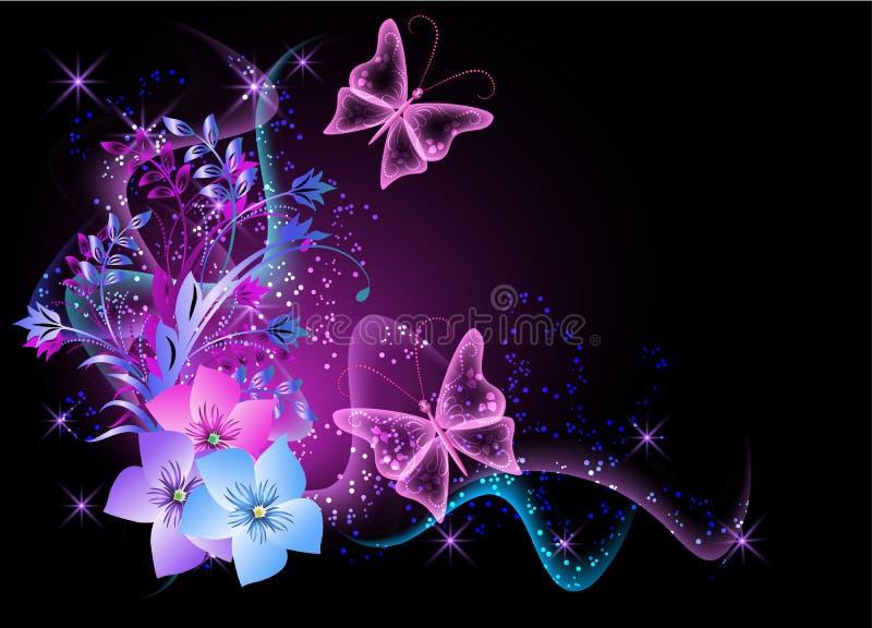 Priorità bassa con i fiori, il fumo e la farfalla illustrazione vettoriale