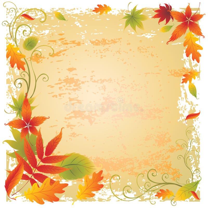 Priorità bassa con i fogli di autunno variopinti illustrazione vettoriale