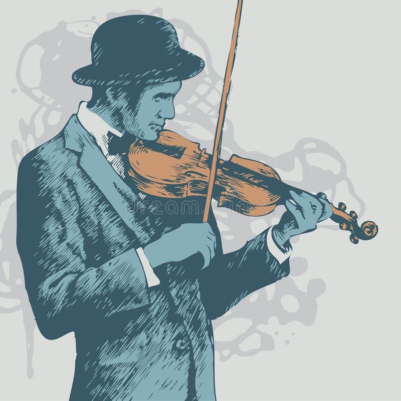 Priorità bassa con il violinista illustrazione di stock