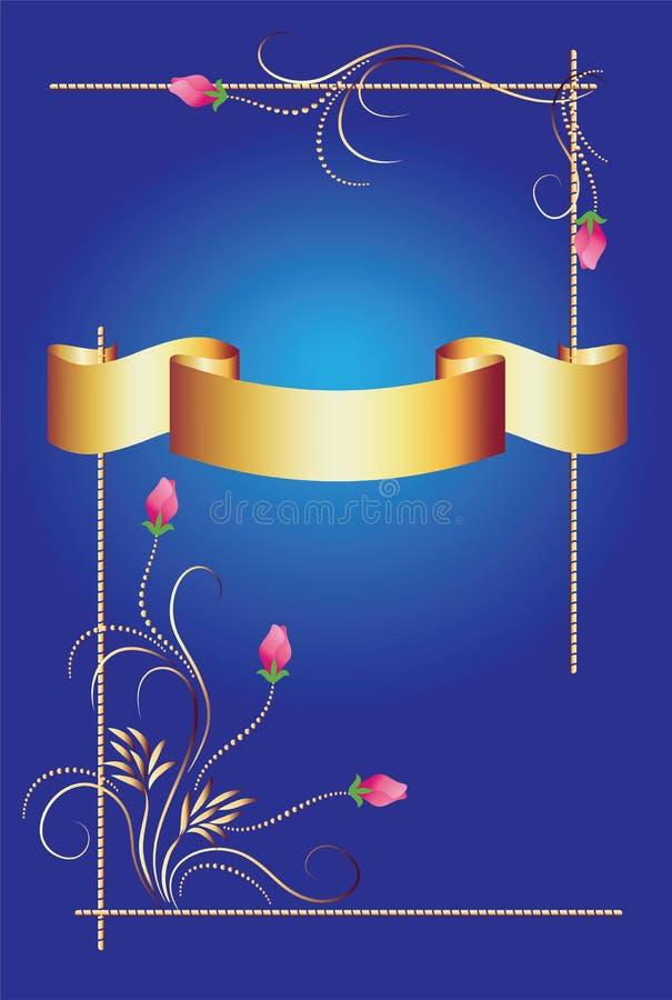 Priorità bassa con l'ornamento ed il nastro dorato illustrazione vettoriale