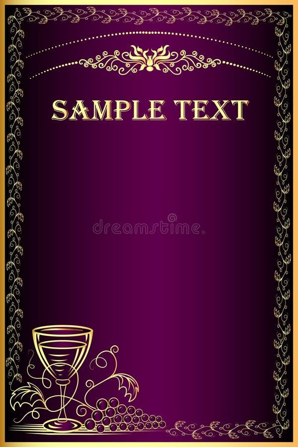 Priorità bassa con l'uva ed il calice dell'oro (en) per il menu illustrazione di stock