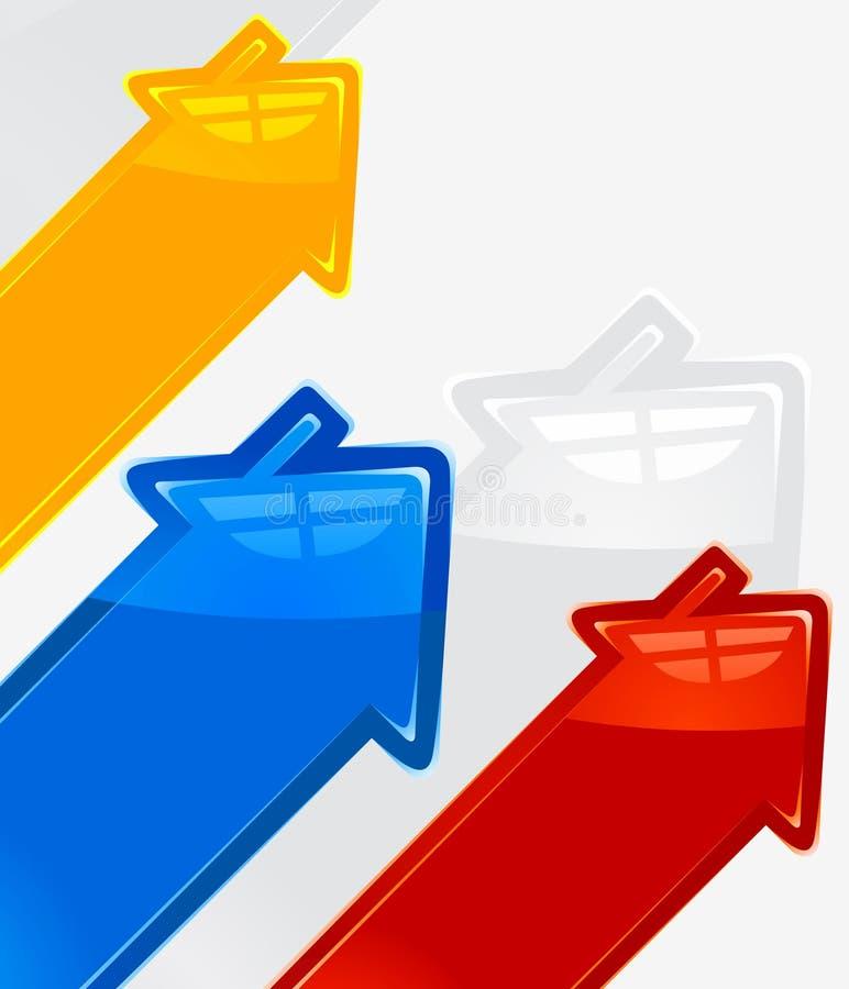 Priorità bassa con le frecce colorate nella casa del modulo illustrazione vettoriale