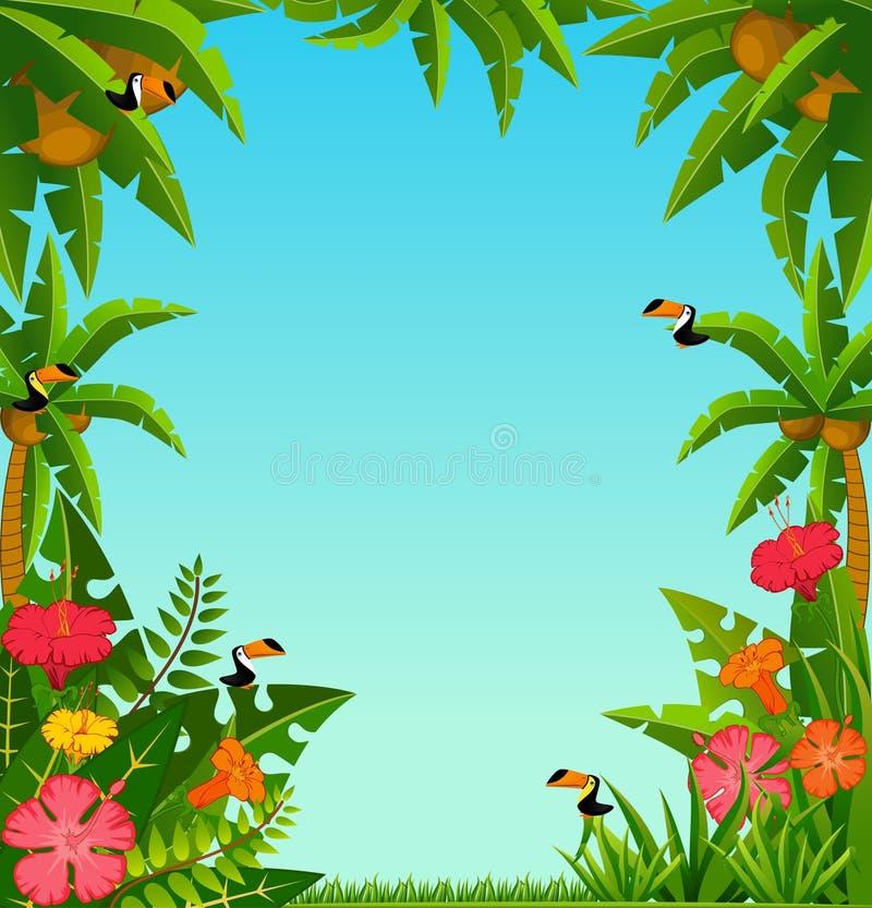 Priorità bassa con le piante tropicali ed i pappagalli immagini stock libere da diritti