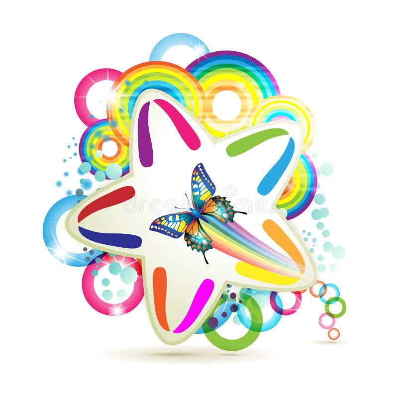 Priorità bassa con le stelle e la farfalla illustrazione di stock