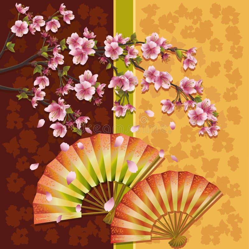 Priorità bassa con sakura - ciliegio giapponese illustrazione di stock