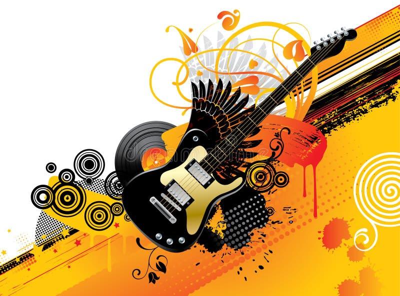 Priorità bassa con una chitarra illustrazione di stock