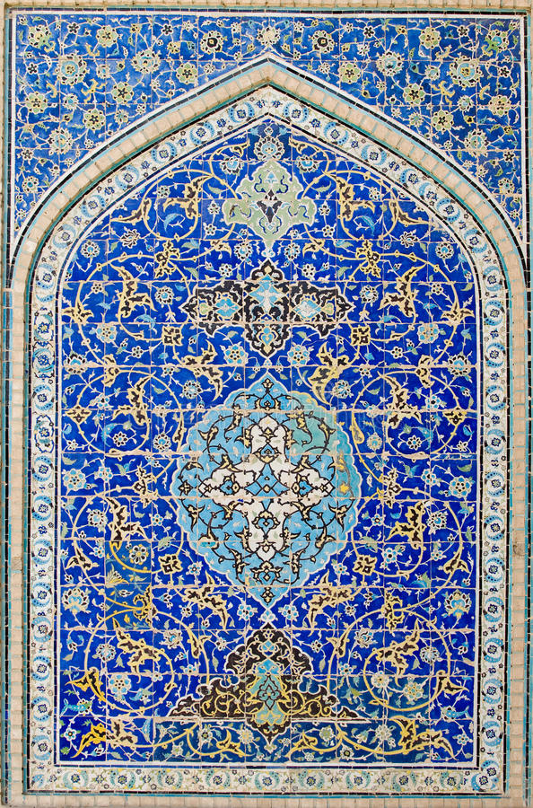 Priorità bassa coperta di tegoli, ornamenti orientali da Ispahan fotografia stock libera da diritti