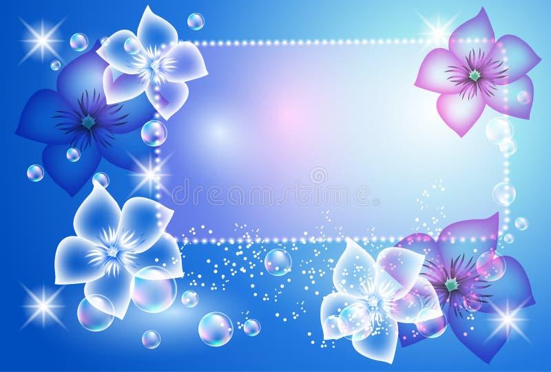 Priorità bassa d'ardore con i fiori trasparenti illustrazione vettoriale