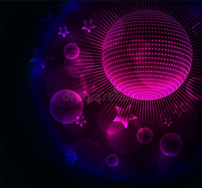 Priorità bassa d'ardore di colore astratto con la sfera della discoteca illustrazione vettoriale