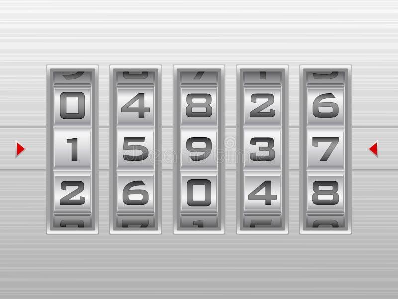 Priorità bassa d'argento della serratura di combinazione di numero illustrazione di stock
