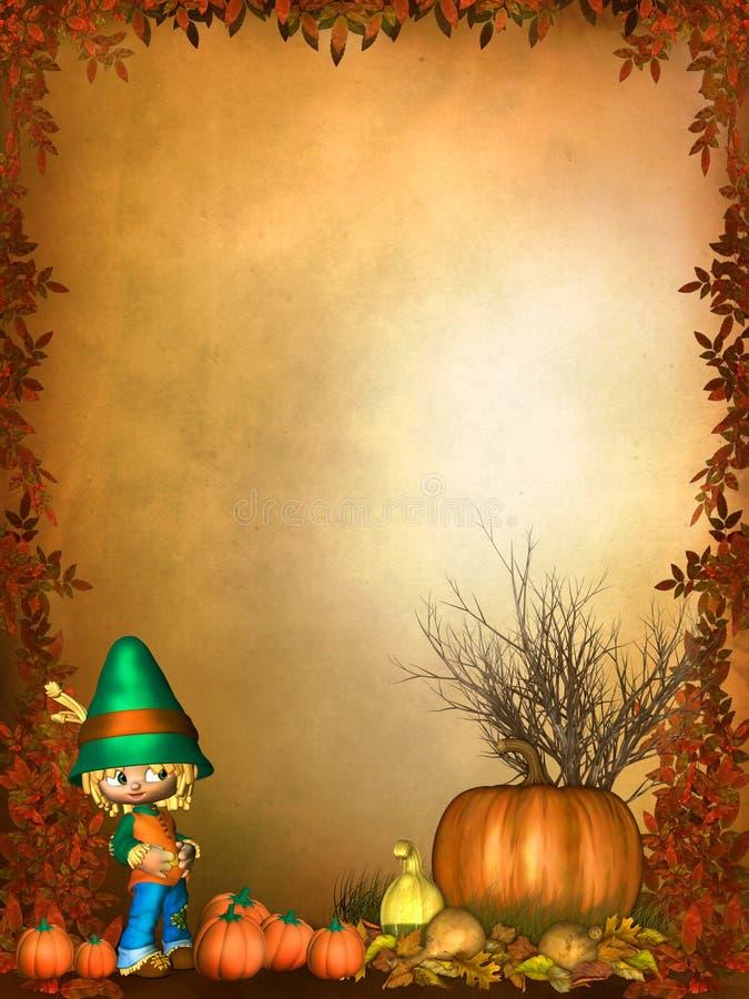 Priorità bassa d'autunno con gli ornamenti svegli di Toon illustrazione vettoriale