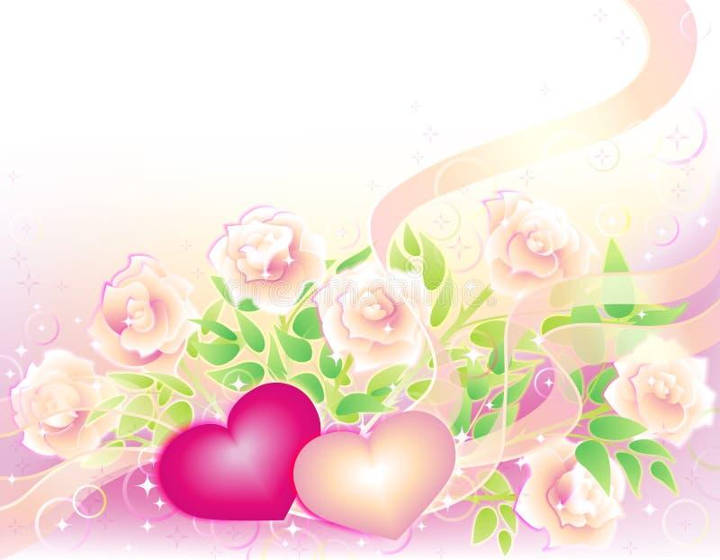 Priorità bassa dei biglietti di S. Valentino con le rose ed i cuori illustrazione vettoriale