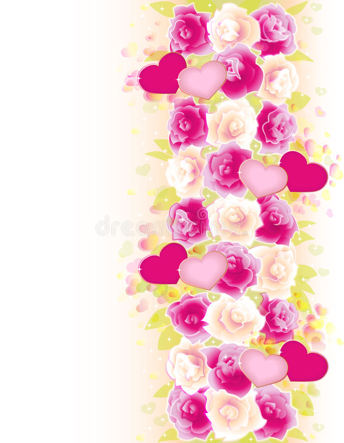 Priorità bassa dei biglietti di S. Valentino con le rose ed i cuori illustrazione di stock