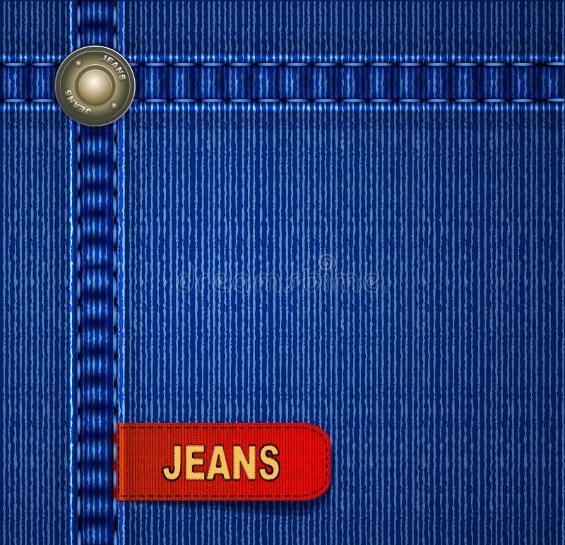 Priorità bassa dei jeans di vettore con il contrassegno rosso illustrazione di stock