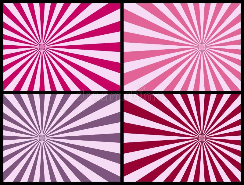 Priorità bassa dei raggi [colore rosa] illustrazione di stock