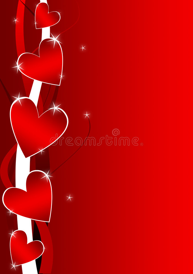 Priorità bassa del biglietto di S. Valentino con i cuori illustrazione vettoriale