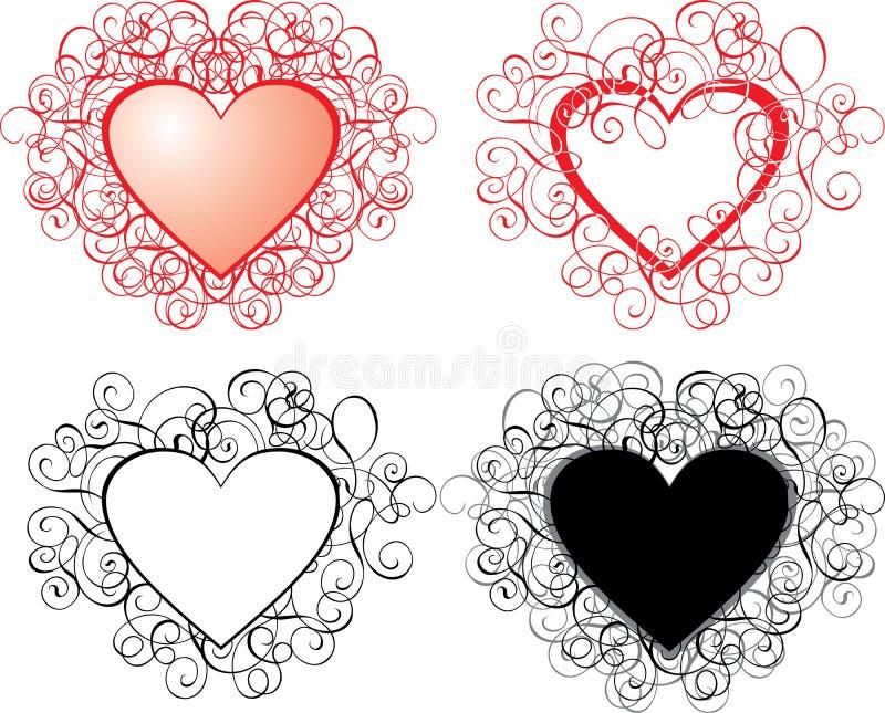 Priorità bassa del biglietto di S. Valentino, cuori, vettore illustrazione vettoriale