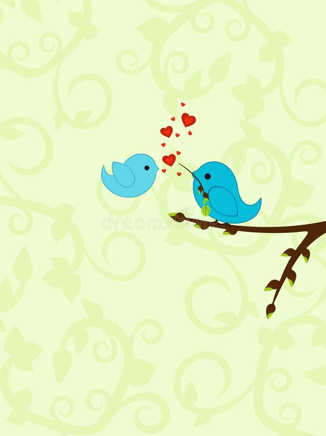 Priorità bassa del biglietto di S. Valentino della sorgente con gli uccelli illustrazione di stock
