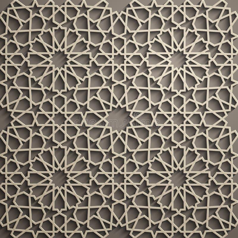 Priorità bassa del Brown Vettore islamico dell'ornamento, motiff persiano elementi rotondi islamici del modello di 3d il Ramadan  illustrazione vettoriale