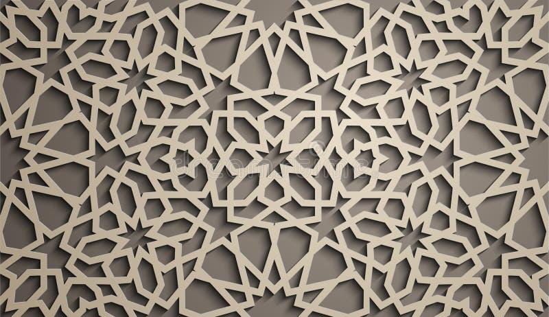 Priorità bassa del Brown Vettore islamico dell'ornamento, motiff persiano elementi rotondi islamici del modello di 3d il Ramadan  illustrazione di stock