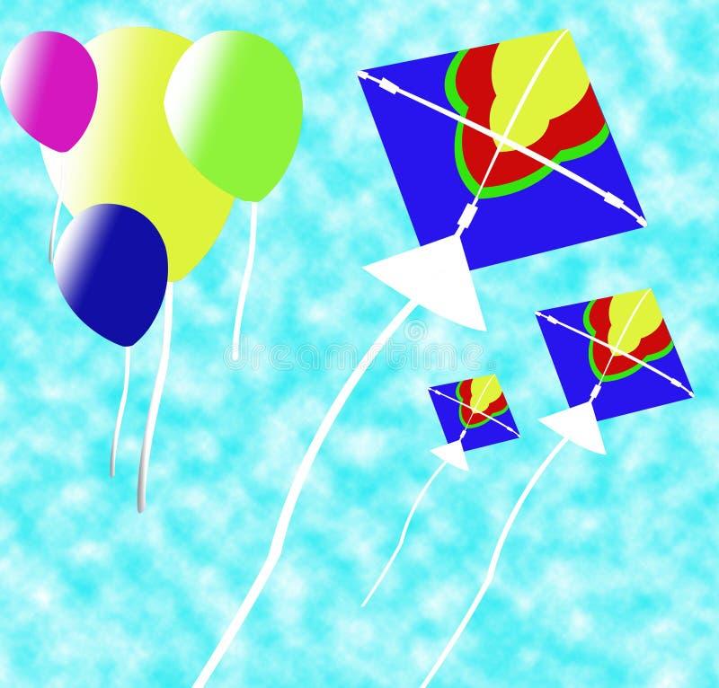 Download Priorità Bassa Del Cervo Volante E Di Baloon Illustrazione di Stock - Illustrazione di rosso, filetto: 7305506