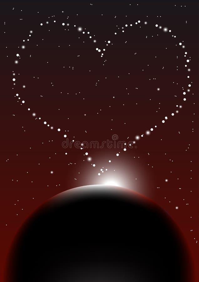 Priorità bassa del cielo notturno del biglietto di S. Valentino illustrazione vettoriale