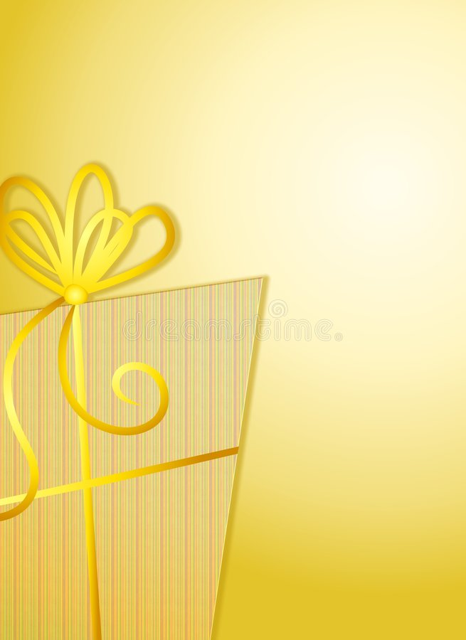 Priorità bassa del contenitore di regalo dell'oro illustrazione vettoriale