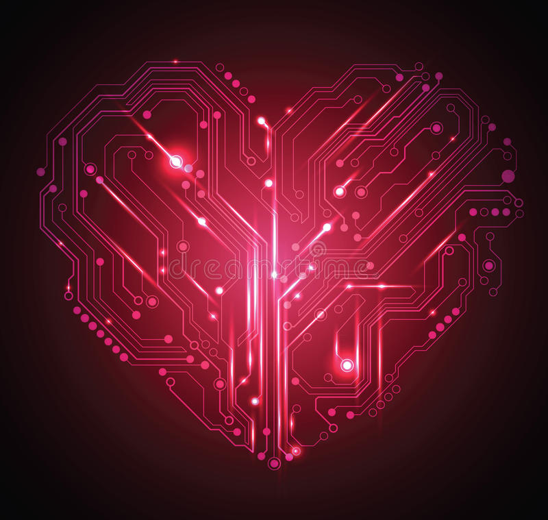 Priorità bassa del cuore del circuito illustrazione vettoriale