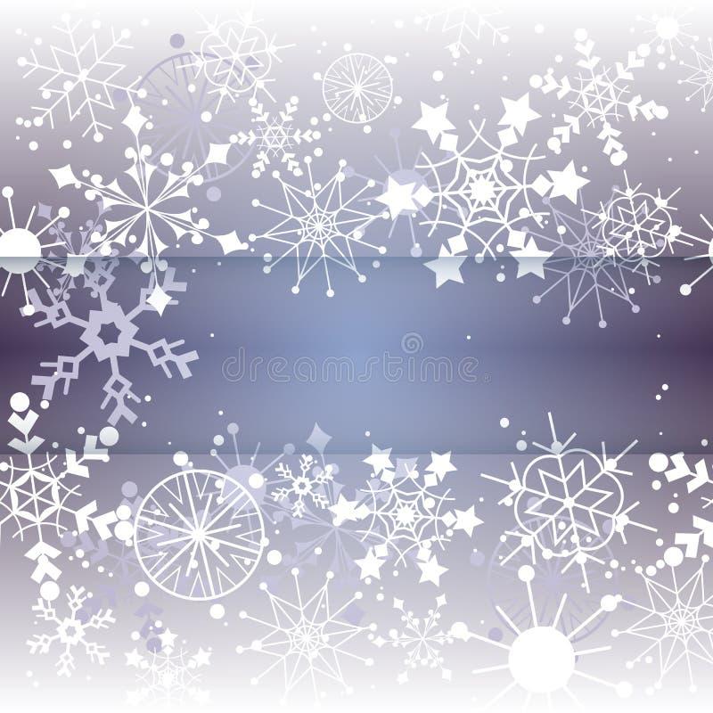 Priorità bassa del fiocco di neve di inverno con lo spazio della copia illustrazione vettoriale